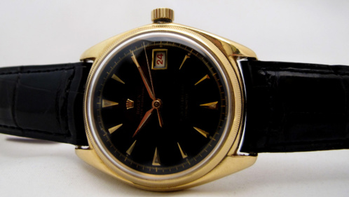 ROLEX Big Bubble Or Jaune cadran laqué -