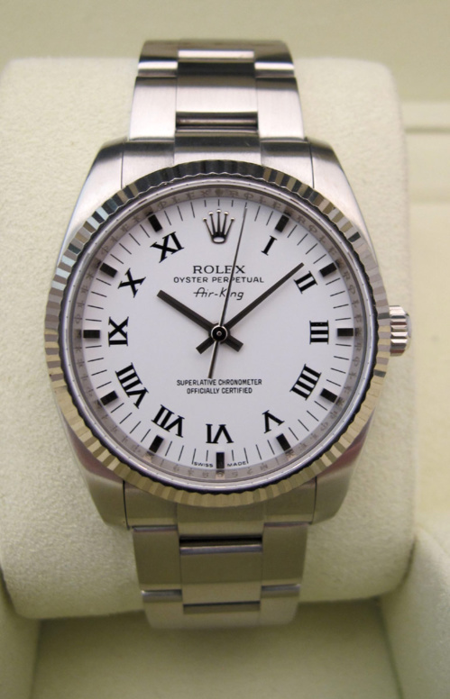 ROLEX Air-King Lunette Or Blanc -