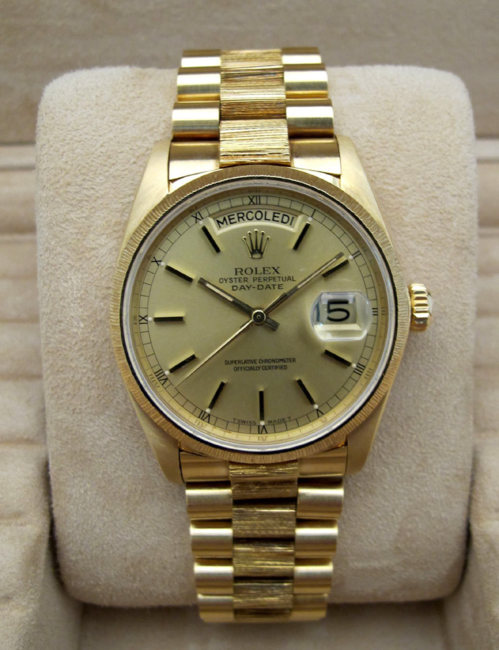 "ROLEX Day-Date tout or jaune 18K "" Ecorce "" -"