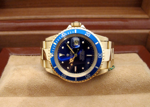 "ROLEX Submariner Date 1680 tout or jaune 18K "" Blue Navy "" -"