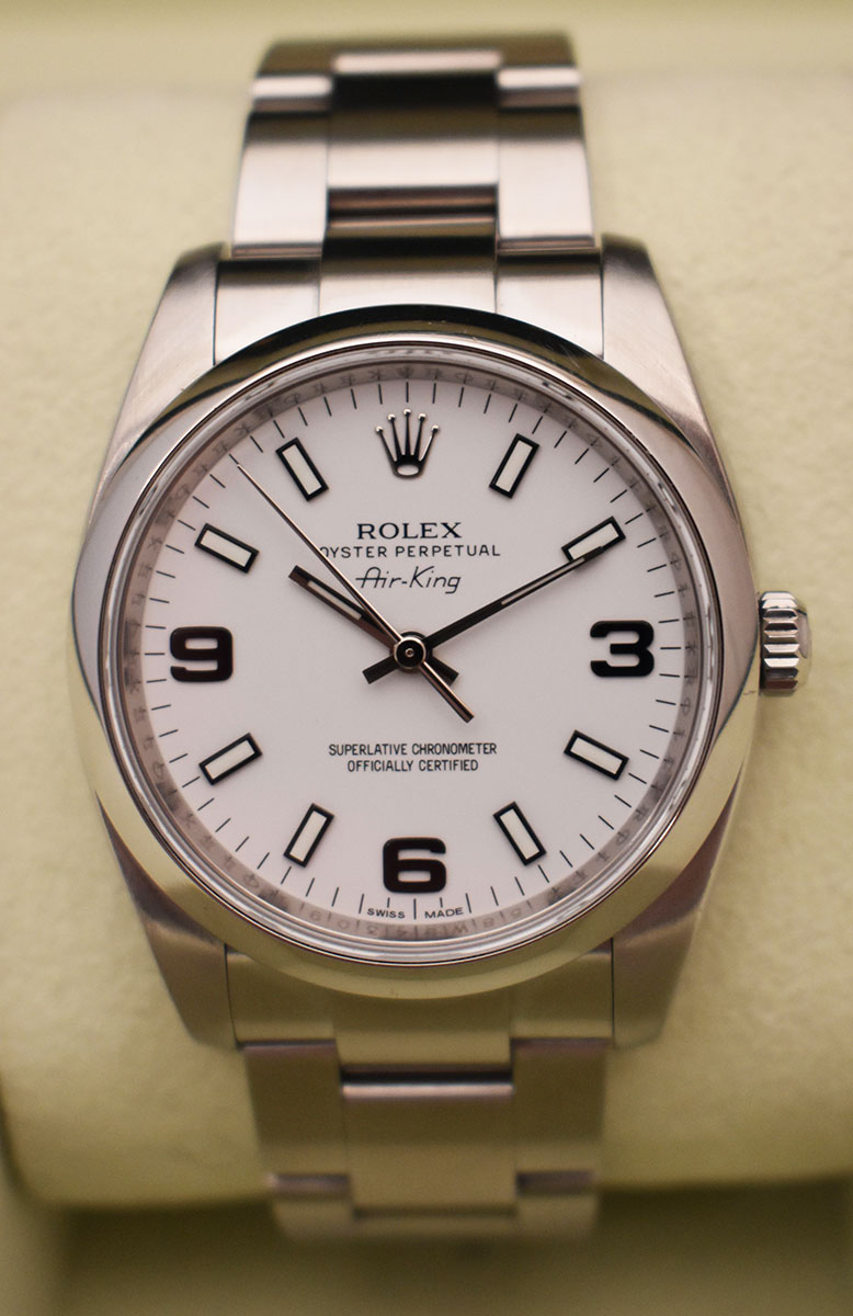 ROLEX Air-King 114200 - Cadran Blanc.