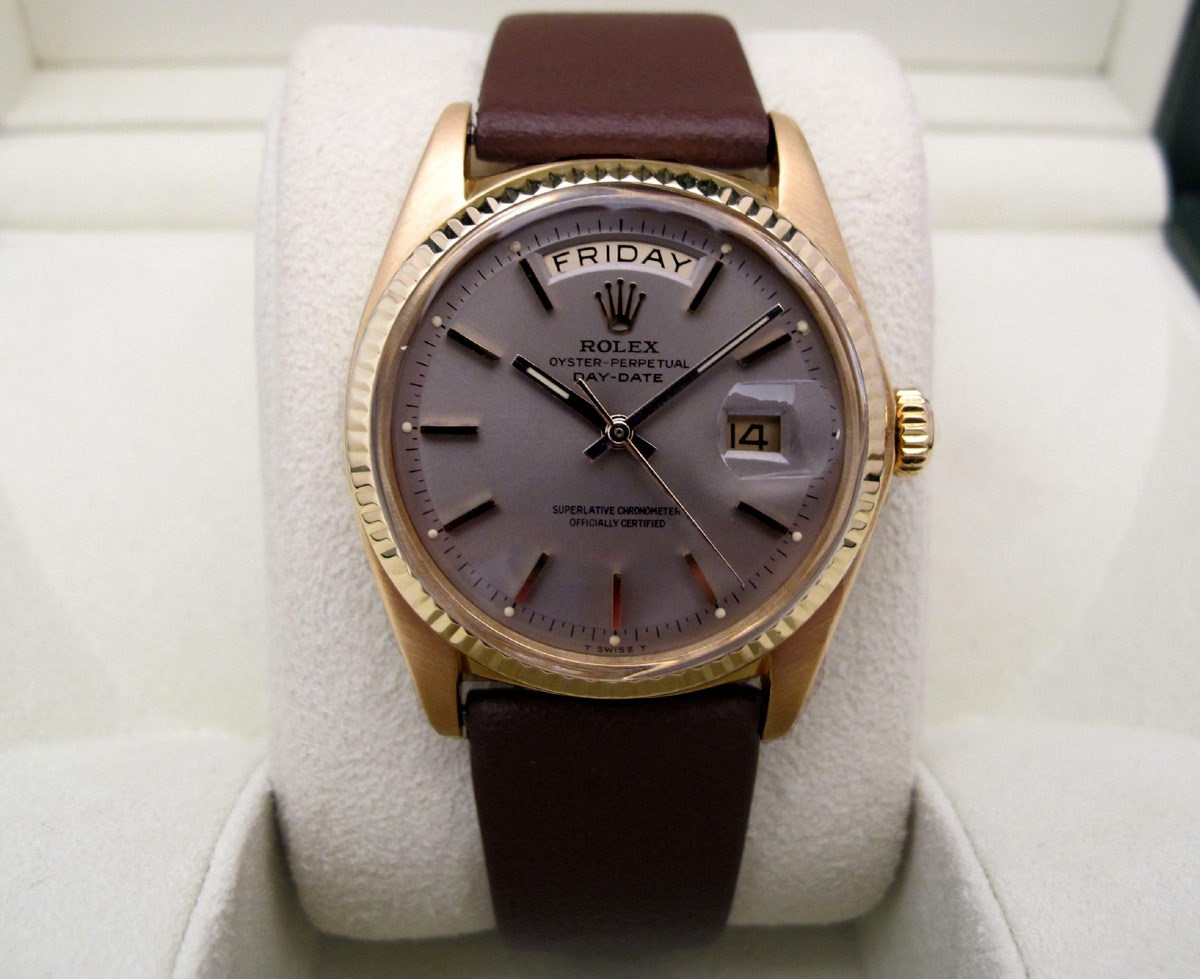ROLEX Day-Date Or jaune 18K / Cuir -