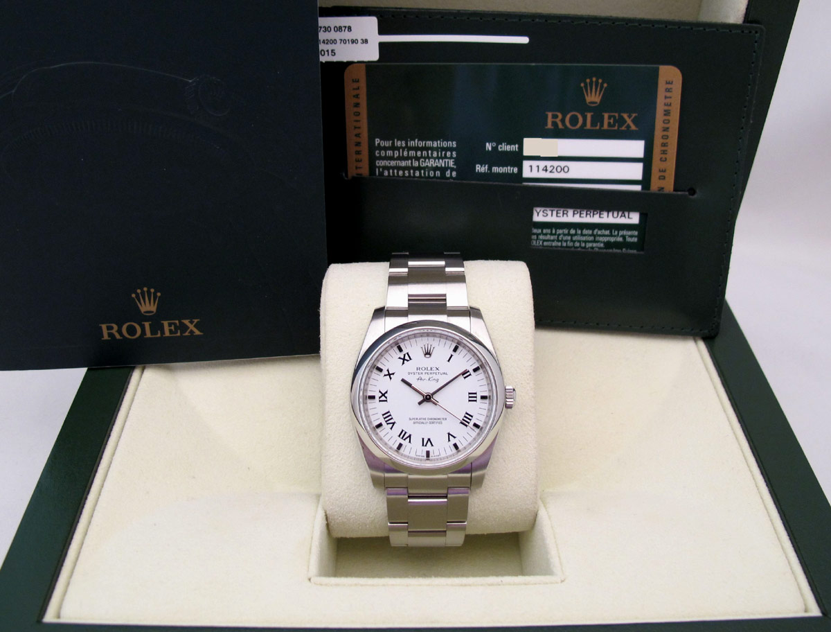 ROLEX Air-King - Cadran blanc.