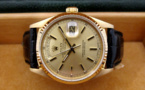 ROLEX Day-Date or jaune 18K / Croco -